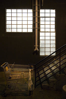 Photograph - Shopping Cart Stairs At Window by Peter Tellone