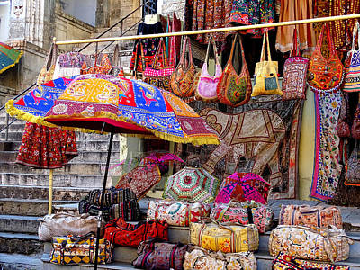 Hand Embroidery Photograph - Shopping Colorful Bags Sale Jaipur Rajasthan India by Sue Jacobi