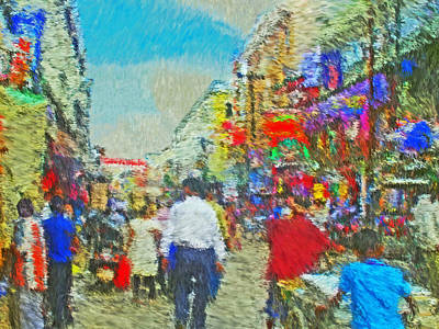 Digital Art - Shopping District In Varanasi India by Digital Photographic Arts