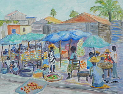 Haitian Painting - Shopping In Haiti by Patty Weeks