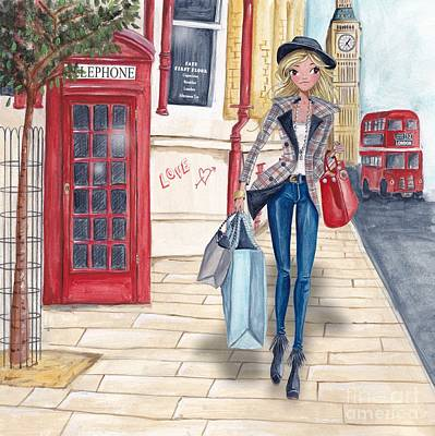 Shopping Bags Painting - Shopping In London by Caroline Bonne-Muller