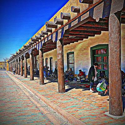 Digital Art - Shopping In Santa Fe by Carrie OBrien Sibley