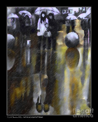 Rush Hour Digital Art - Shopping On A Rainy Afternoon by Pedro L Gili