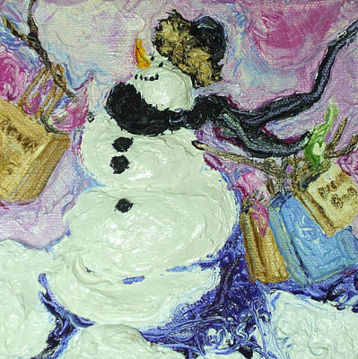 Shopping Snow Girl Print by Paris Wyatt Llanso