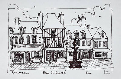 Pen And Ink Drawing Photograph - Shopping Street Along Place by Richard Lawrence