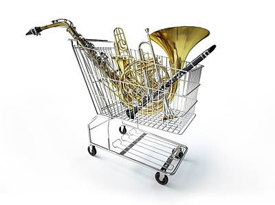Wind Instrument Photograph - Shopping Trolley And Musical Instruments by Leonello Calvetti