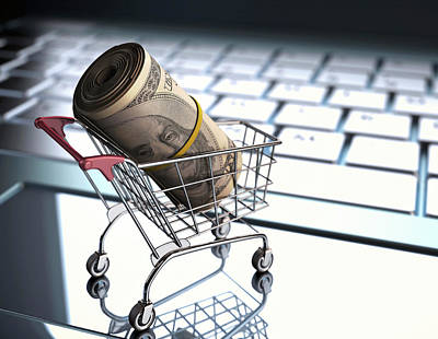 Buying Online Photograph - Shopping Trolley With American Dollars by Ktsdesign
