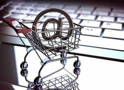 Buying Online Photograph - Shopping Trolley With An 'at' Sign by Ktsdesign