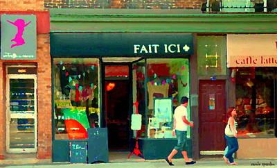 Montreal Buildings Painting - Shops Along Notre Dame In St Henri Street Scene Art Fait Ici And Lili Et Oli Cafe Carole Spandau  by Carole Spandau