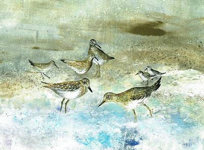 Mixed Media - Shore Birds by Nancy Gorr