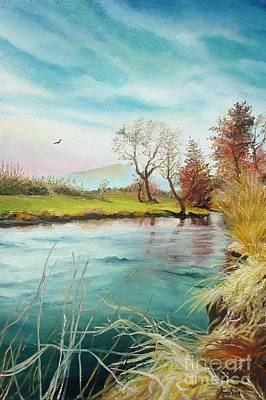 Art Print featuring the painting Shore Of The River by Sorin Apostolescu