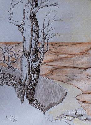 Sepia Ink Drawing - Shore Time by Grant Mansel-James