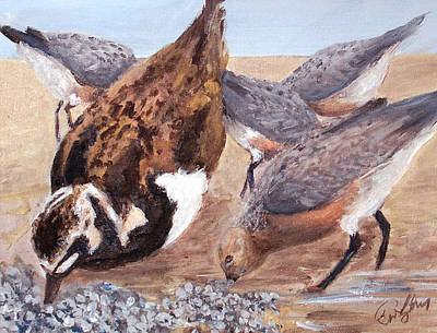 Painting - Shorebirds by Ronald Lightcap
