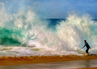 Waterscape Painting - Shorebreak At The Wedge by Michael Pickett