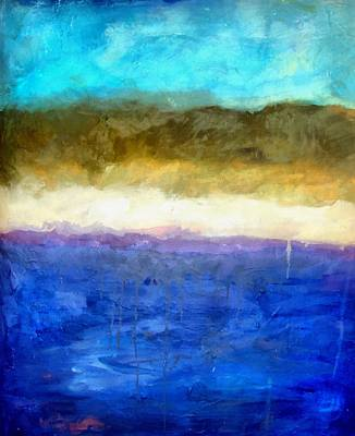 Drip Painting - Shoreline Abstract by Michelle Calkins