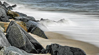 Photograph - Shoreline Rocks And Opposing Surf by Gary Slawsky