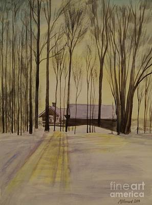 Snowy Day Painting - Short Days And Long Shadows by Martin Howard