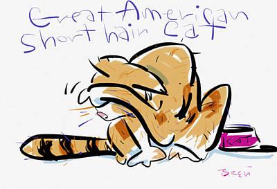 Hair-washing Digital Art - Short Hair Cat by Brett LaGue