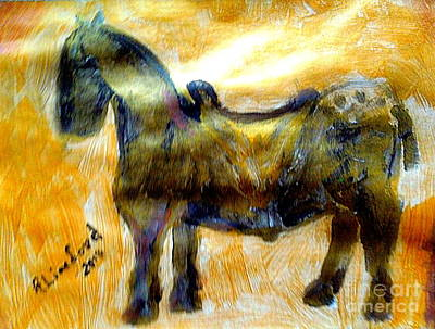 Painting - Short Knight's War Horse 1 by Richard W Linford