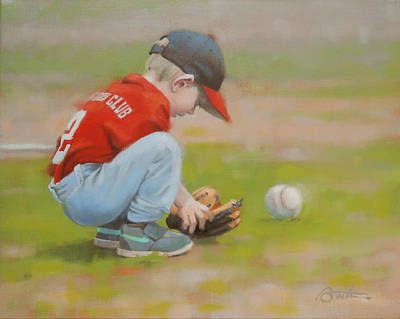 Baseball Painting - Short Shortstop by Todd Baxter