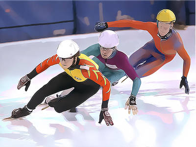 Winter Sports Painting - Short Track Speed Skaters by Elaine Plesser