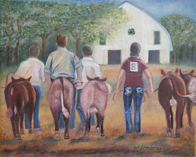 Steer Painting - Leading Our Shorthorns To The County Fair by Debra Johnson