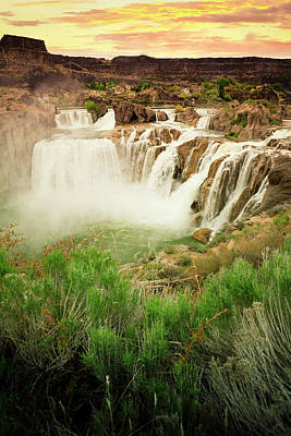 Photograph - Shoshone Falls At Sunset by Powerofforever