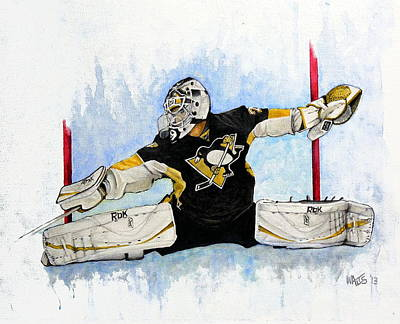 Goaltender Painting - Shot ...save by William Walts
