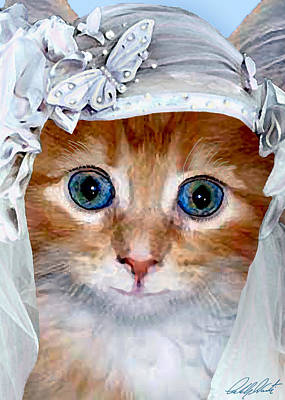 Shotgun Bride  Cats In Hats Art Print