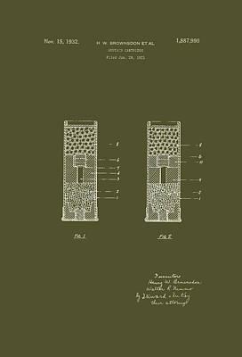 Authority Drawing - Shotgun Cartridge Patent by Mountain Dreams