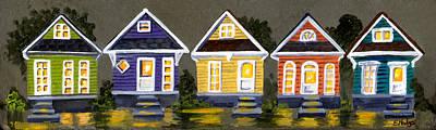 New Orleans Shotgun Houses Painting - Shotgun Houses by Elaine Hodges