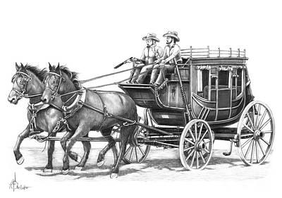 Stagecoach Drawing - Shotgun by Murphy Elliott