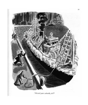 Dock Drawing - Shovel Your Catwalk by Robert J. Day