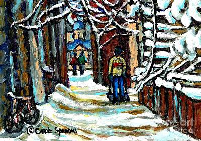 Painting - Shovelling Out After January Storm Verdun Streets Clad In Winter Whites Montreal Painting C Spandau by Carole Spandau
