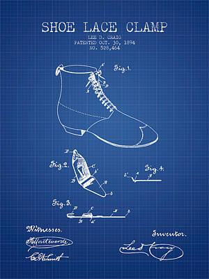 Shoe Digital Art - Show Lace Clamp Patent From 1894 - Blueprint by Aged Pixel
