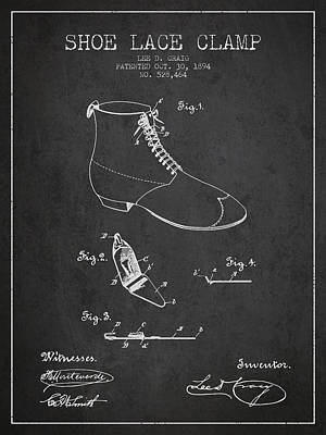 Shoe Digital Art - Show Lace Clamp Patent From 1894 - Dark by Aged Pixel