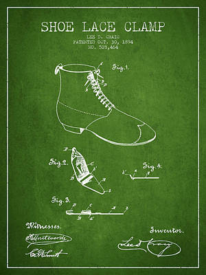 Shoe Digital Art - Show Lace Clamp Patent From 1894 - Green by Aged Pixel