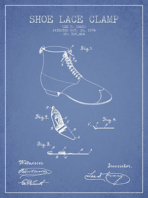 Shoe Digital Art - Show Lace Clamp Patent From 1894 - Light Blue by Aged Pixel