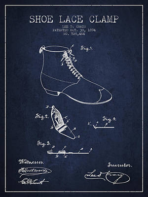 Shoe Digital Art - Show Lace Clamp Patent From 1894 - Navy Blue by Aged Pixel
