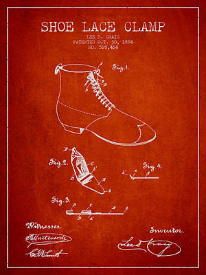 Shoe Digital Art - Show Lace Clamp Patent From 1894 - Red by Aged Pixel