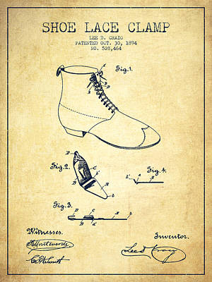 Shoe Digital Art - Show Lace Clamp Patent From 1894 - Vintage by Aged Pixel