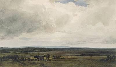 Showery Day, Glastonbury Tor Print by Frederick Nash