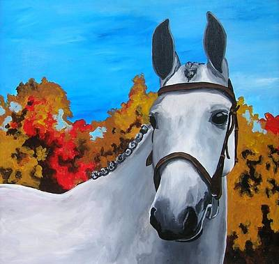 Horse In Autumn Painting - Showstopper by Veronica Silliman