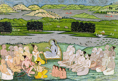 Hindu Mythology Drawing - Shri Sukdevji Preaching To A Concourse by Indian School