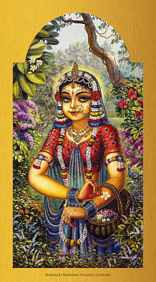 Painting - Shrimati Radhika Picking Flowers by Vrindavan Das