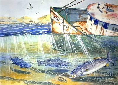 Sun Rays Mixed Media - Shrimp Boat And Sea Trout by Don Hand