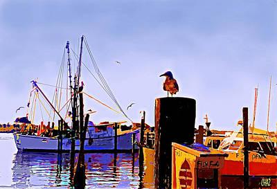Shrimp Boat At Dock Art Print