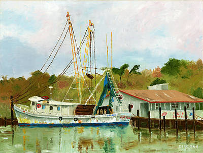 Shrimp Boat At Dock Art Print
