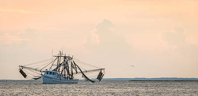 Shrimp Boat At Sunset - Edisto River Photograph Art Print