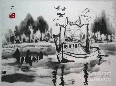 Shrimp Boat Biloxi Art Print by Jeanel Walker
